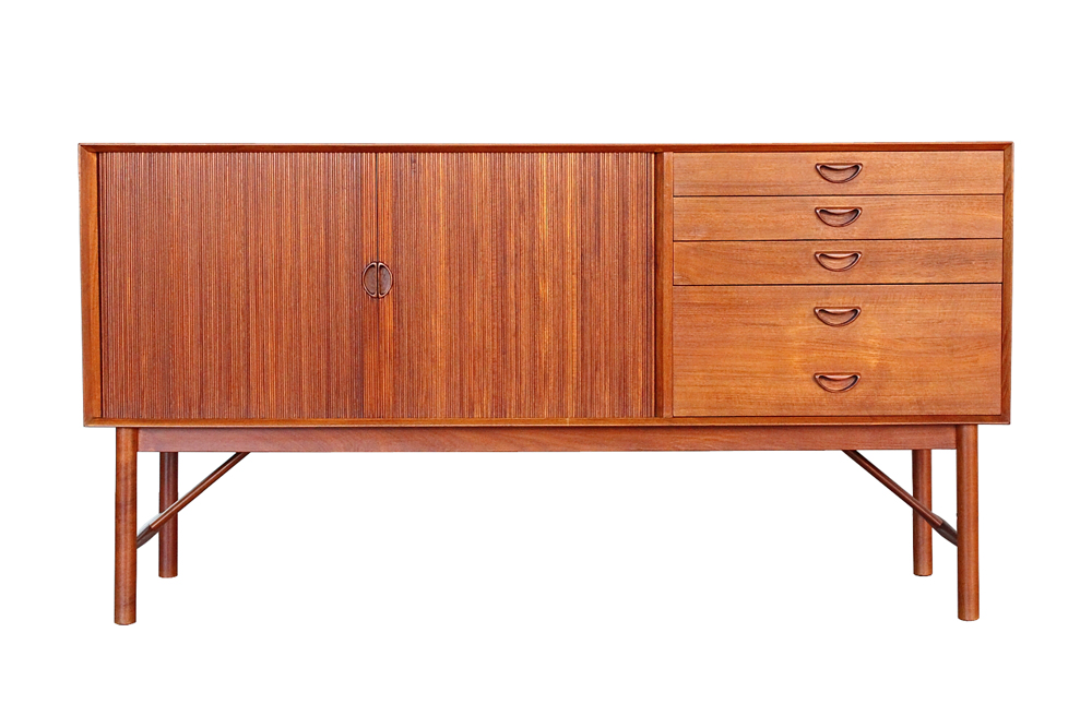 Danish Modern Buffet Credenza : Hvidt and molgaard teak tambour sideboard credenza danish modern