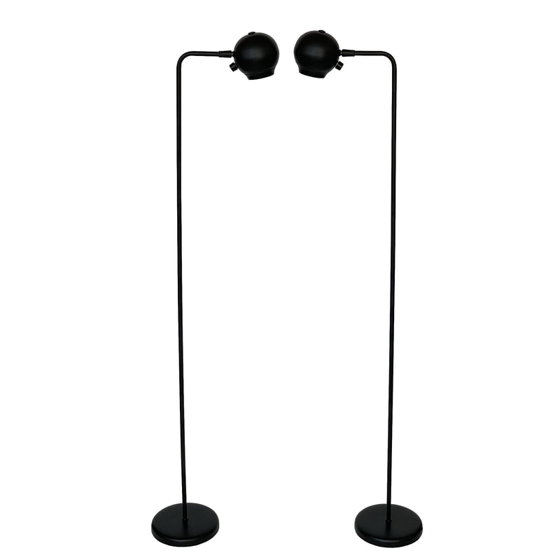 Pair Of Black Eyeball Floor Lamps By Robert Sonneman For